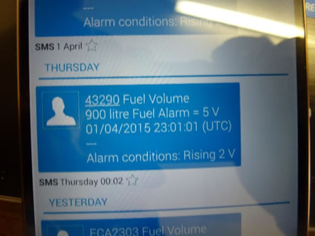 Low Fuel Alarm Text Alert